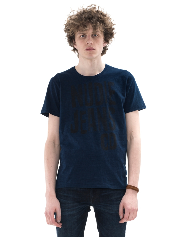 O-Neck Tee NJ Scribble Indigo short-sleeved tees printed