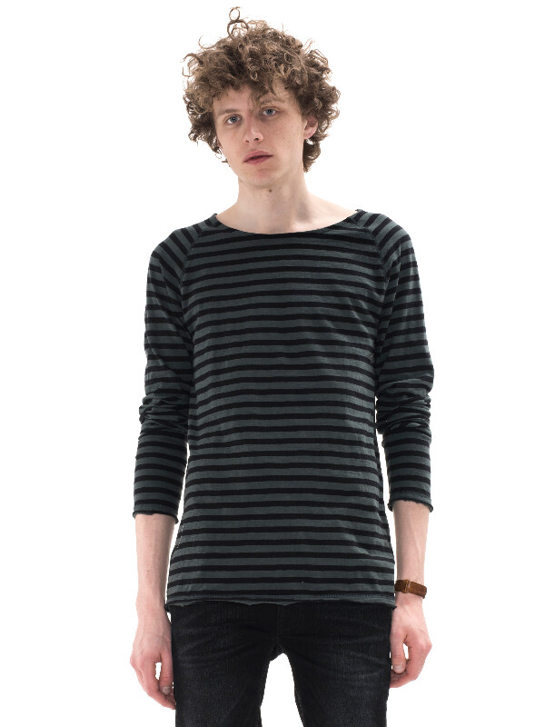 Otto Raw Hem Stripe Lummer long-sleeved tees printed