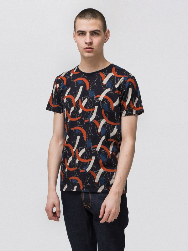 Anders Half Moon Black short-sleeved tees printed