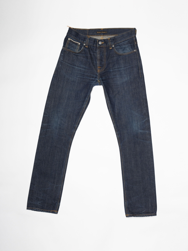 Grim Tim Re-use 955 selvage re-use mid-blue repaired