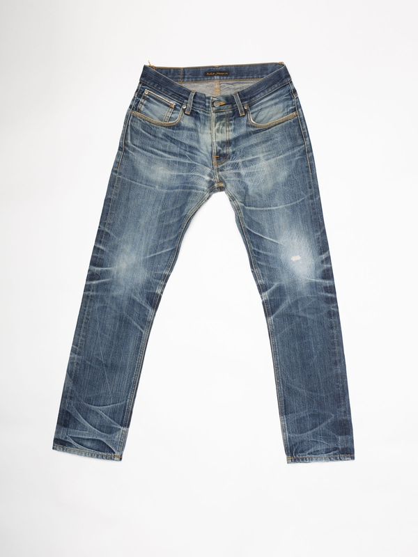 Grim Tim Re-use 967 selvage re-use mid-blue repaired