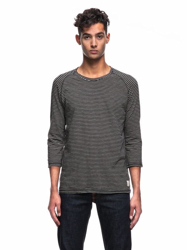 Abbe Harbour Stripe Black/Beige quarter-sleeved tees printed