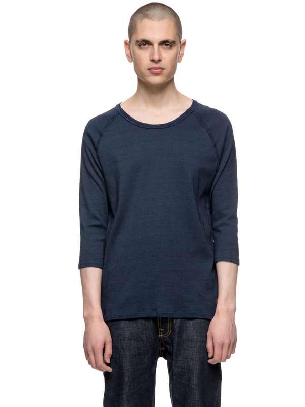Abbe Indigo Rib Blue quarter-sleeved tees solid
