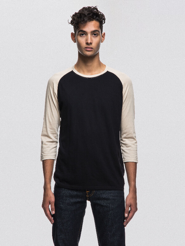 Abbe Quarter Sleeve Black/Sand quarter-sleeved tees solid