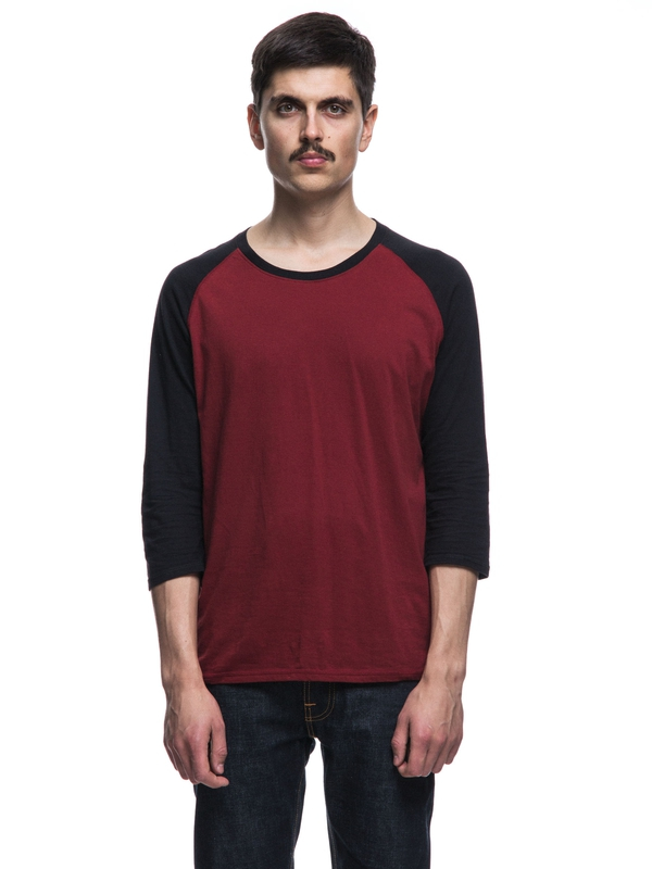 Abbe Quarter Sleeve Mantle Red/Black quarter-sleeved tees solid