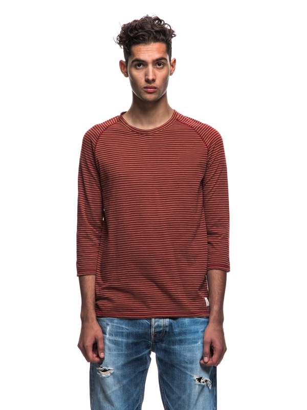 Abbe Harbour Stripe Mantle Red/Lion quarter-sleeved tees printed