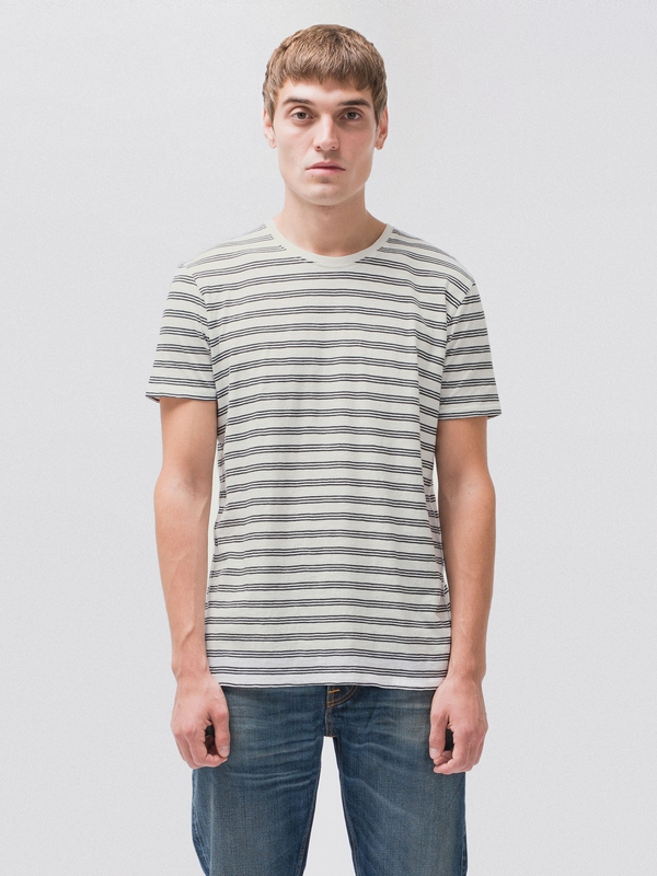 Anders Graphic Stripe Offwhite/Black short-sleeved tees printed