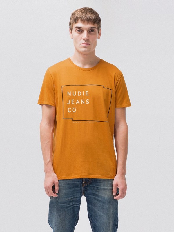 Anders Logo Print Orange short-sleeved tees printed