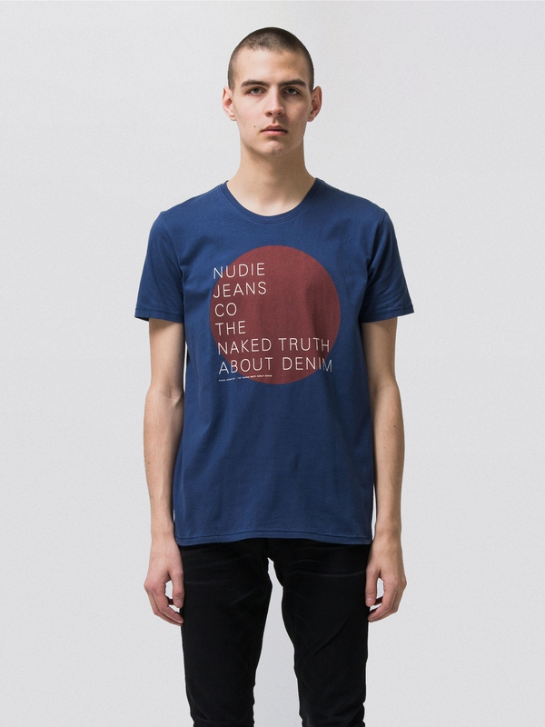 Anders Naked Circle Oden Blue short-sleeved tees printed