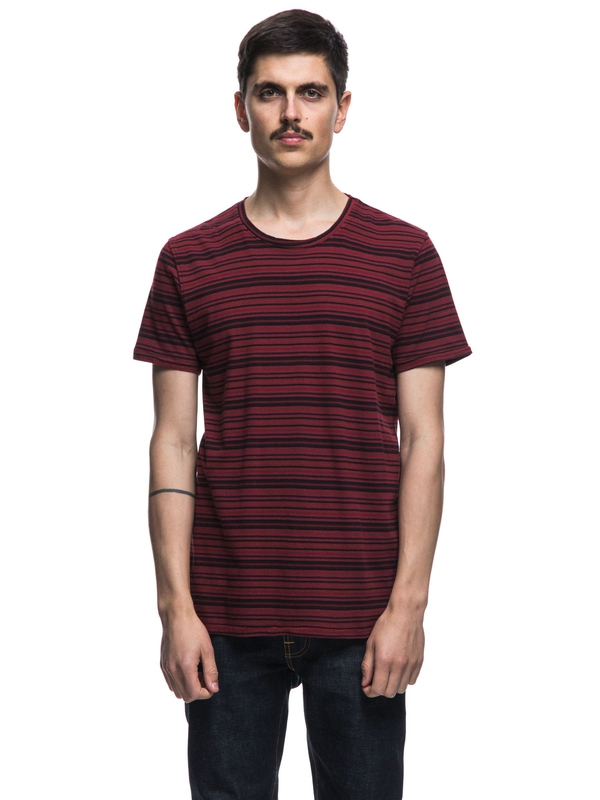 Anders Overdyed Stripes Mantle Red short-sleeved tees printed