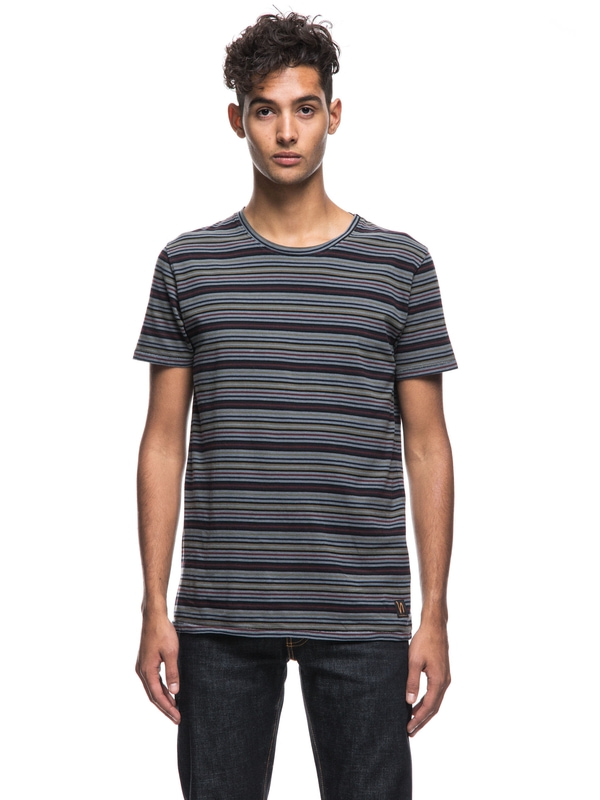 Anders Overdyed Stripes Royal Ash short-sleeved tees printed