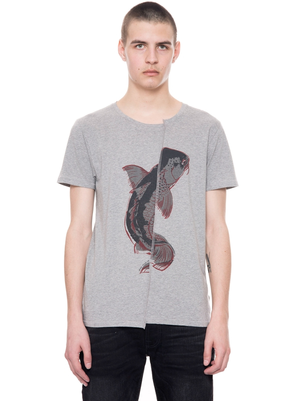 Anders Skewed Cod Greymelange short-sleeved tees printed