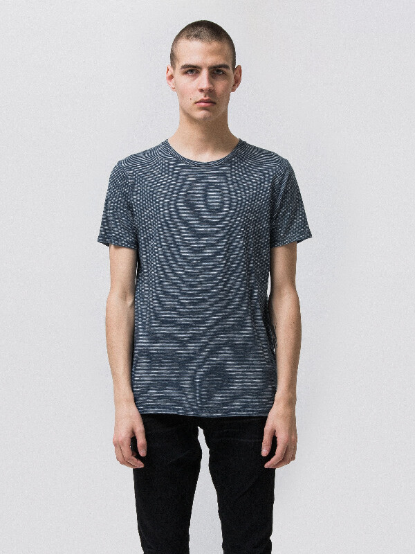 Anders Slub Micro Stripe Indigo short-sleeved tees printed