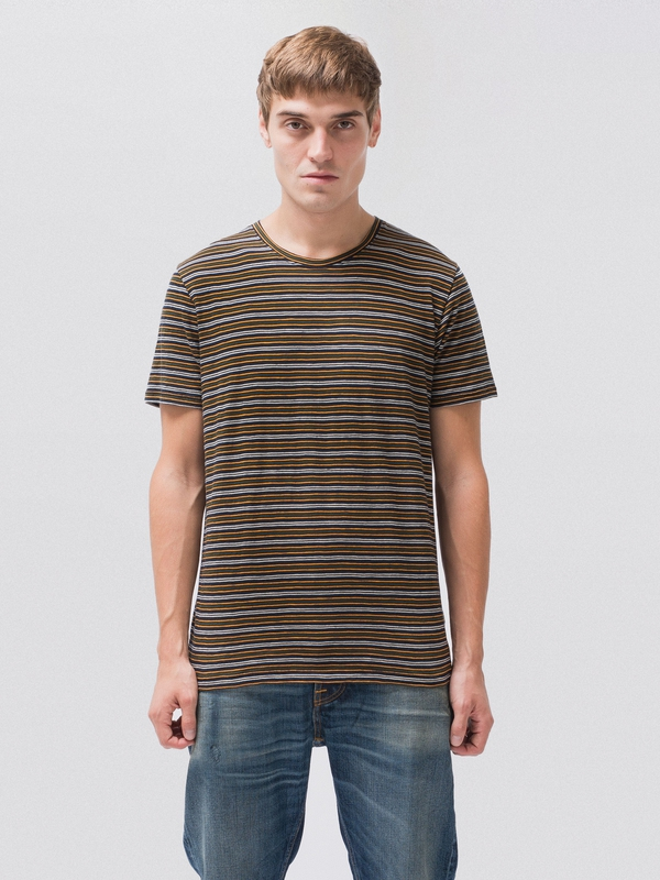 Anders Thin Lines Navy short-sleeved tees printed