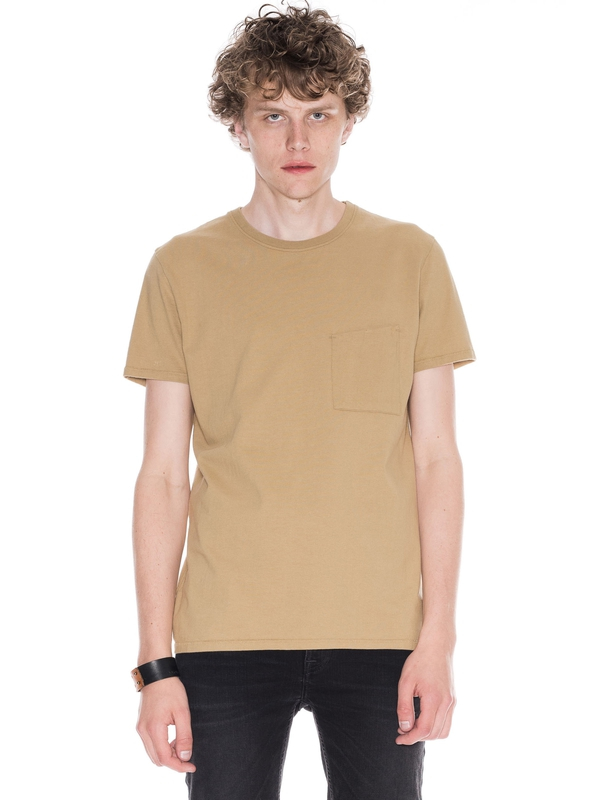 Anders Tilted Pocket Beige short-sleeved tees solid printed
