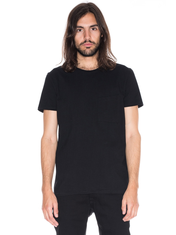 Anders Tilted Pocket Black short-sleeved tees solid printed