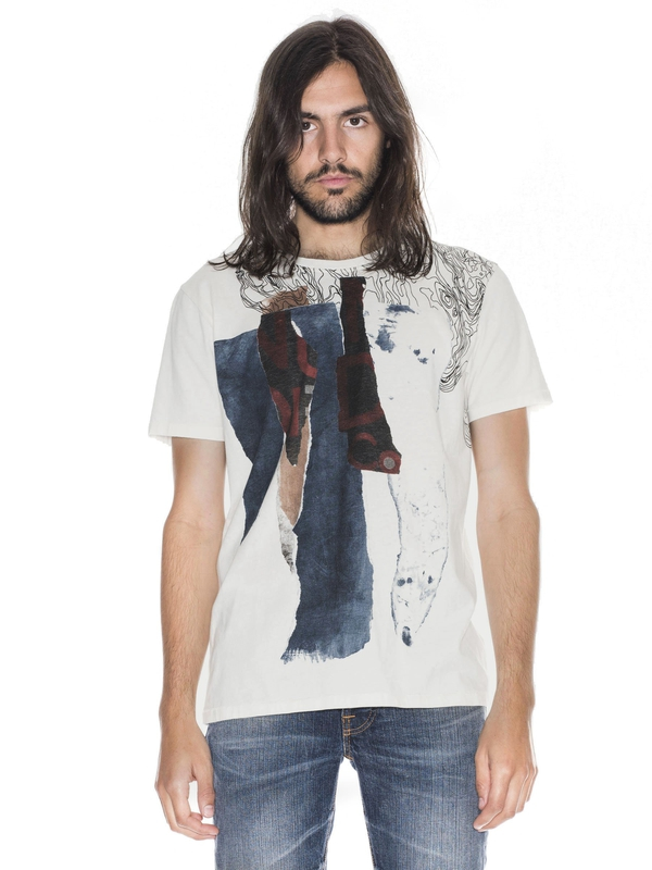 Anders Torn Paper Offwhite short-sleeved tees printed