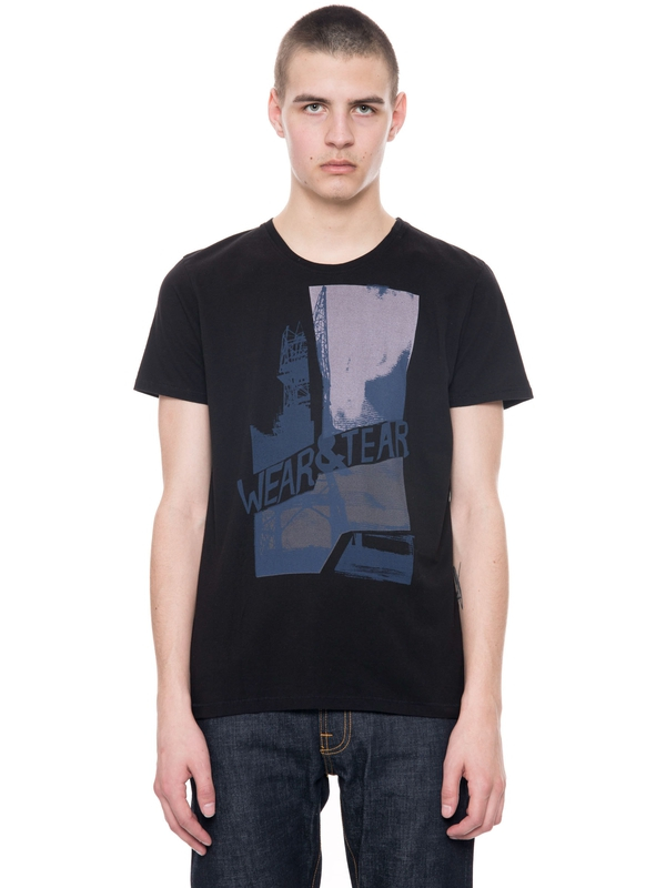 Anders Wear And Tear Black short-sleeved tees printed