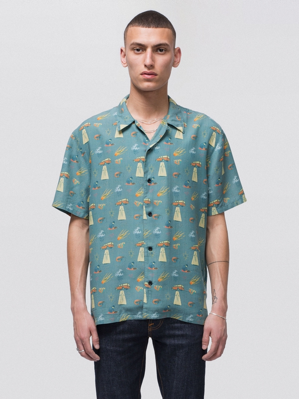 Arvid West Coast Remix Turquoise short-sleeved shirts