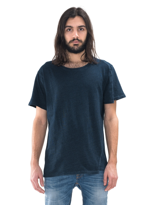 Assar Skewed Shoulder Indigo short-sleeved tees solid