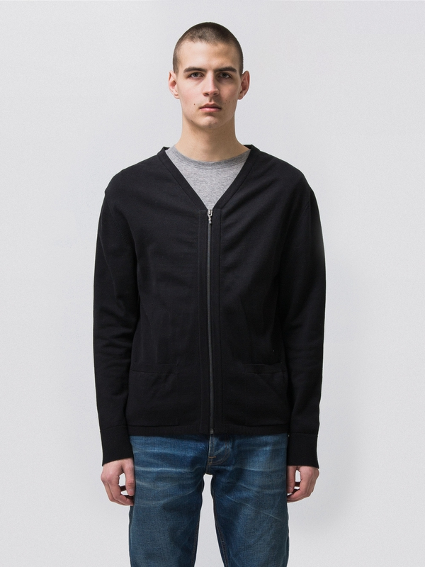 Bill Zip Cardigan Black knits