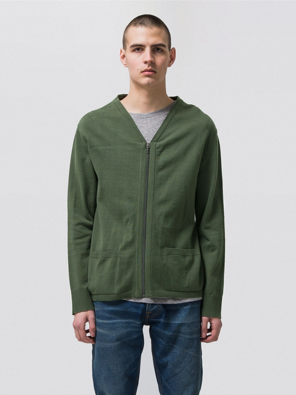 Bill Zip Cardigan Tor Green knits