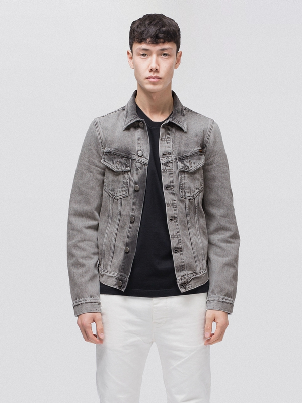 Billy Light Grey Trashed prewashed denim-jackets