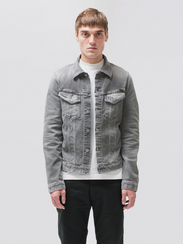 Billy Shimmering Grey prewashed denim-jackets