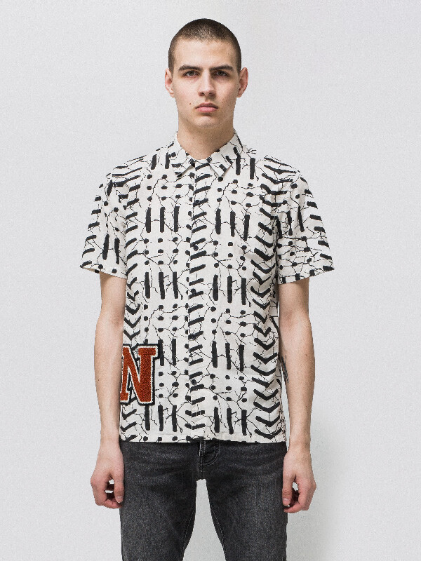 Brandon Batik Offwhite short-sleeved shirts