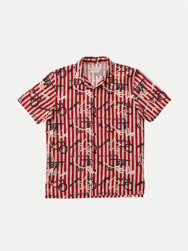 Brandon Graffiti Stripe short-sleeved shirts