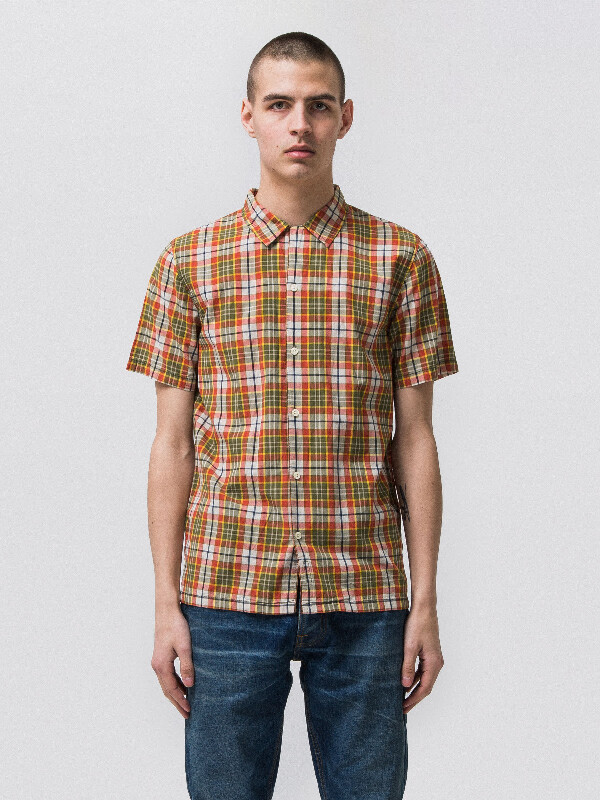 Brandon Multi Madras Check Beech Green short-sleeved shirts