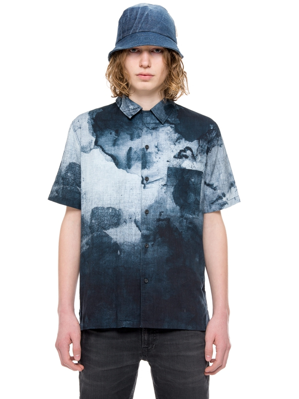 Brandon Smudge Print Black/Blue short-sleeved shirts