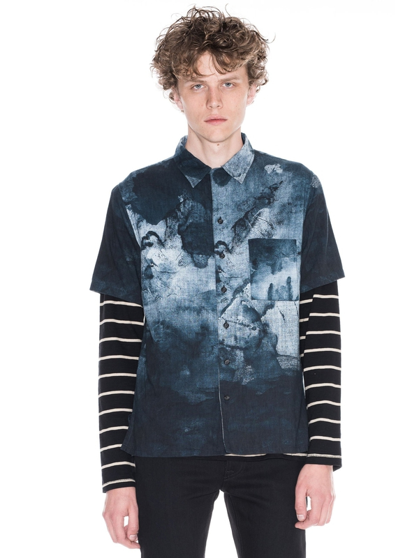 Brandon Smudge Print Black/Blue shirts