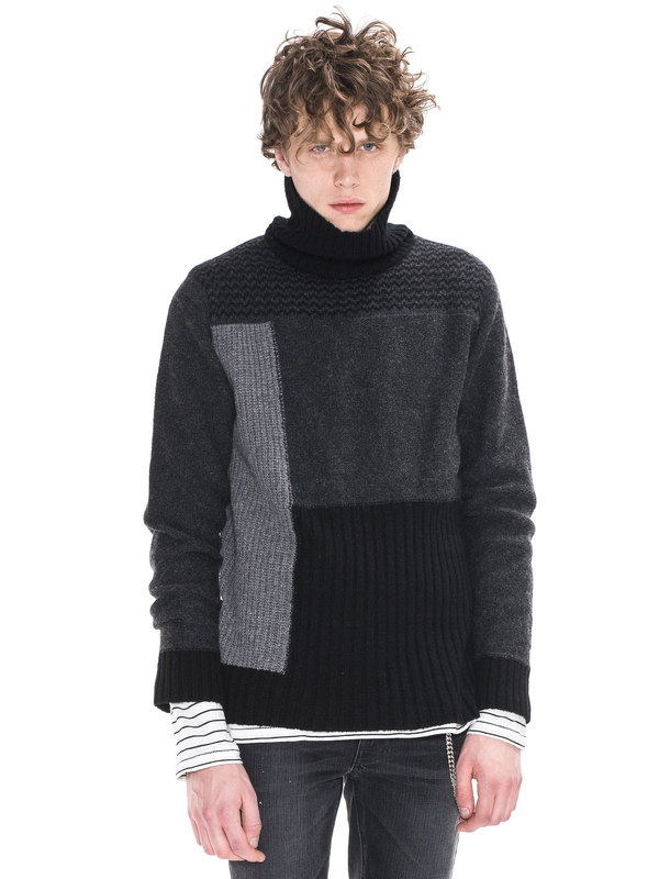 Dag Rollneck Recycled Wool Black/Grey knits