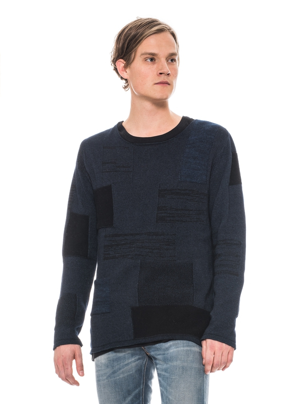 Dale Patched Black/Indigo knits