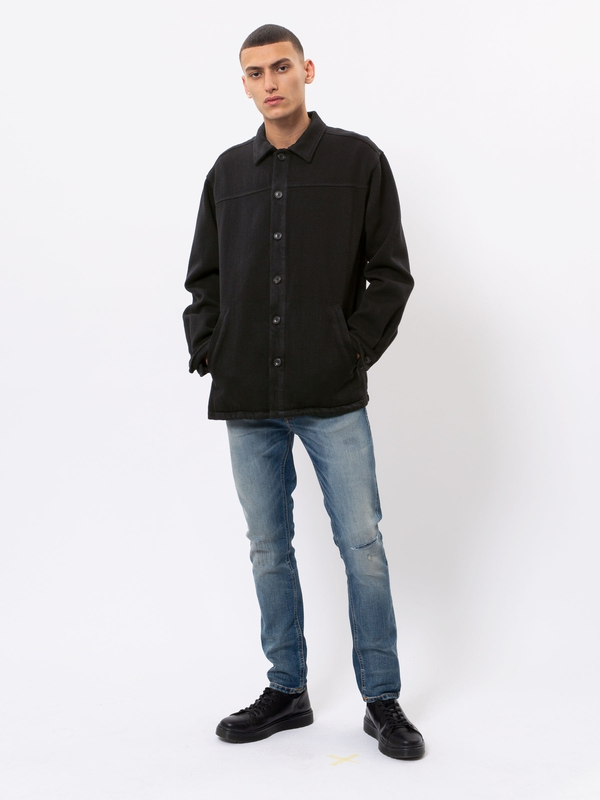 Elias Twill Overshirt Black long-sleeved shirts