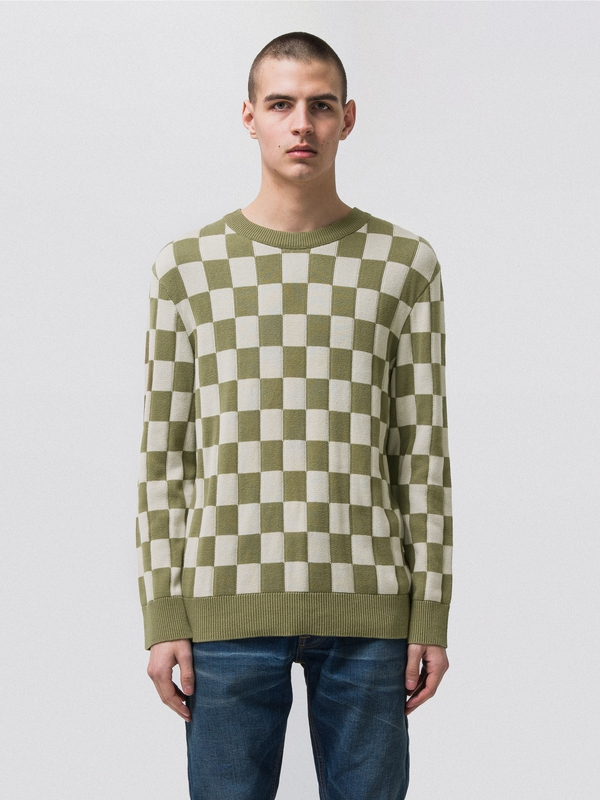 Elof Checkers Beech Green knits
