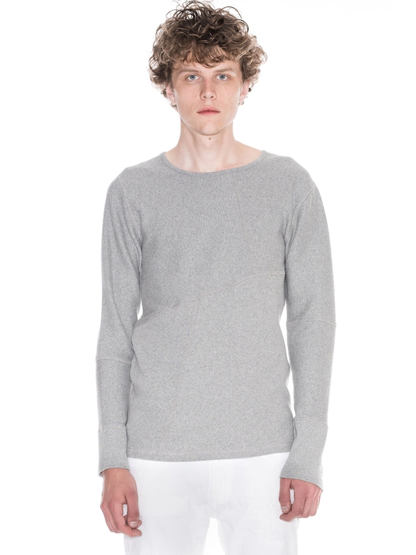 Evan Patched Rib Greymelange long-sleeved tees solid