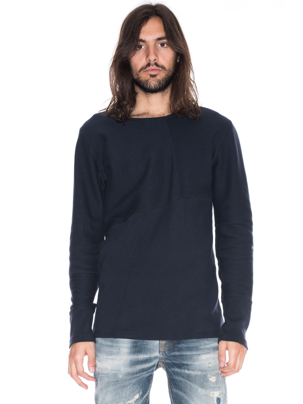 Evan Patched Rib Navy long-sleeved tees solid