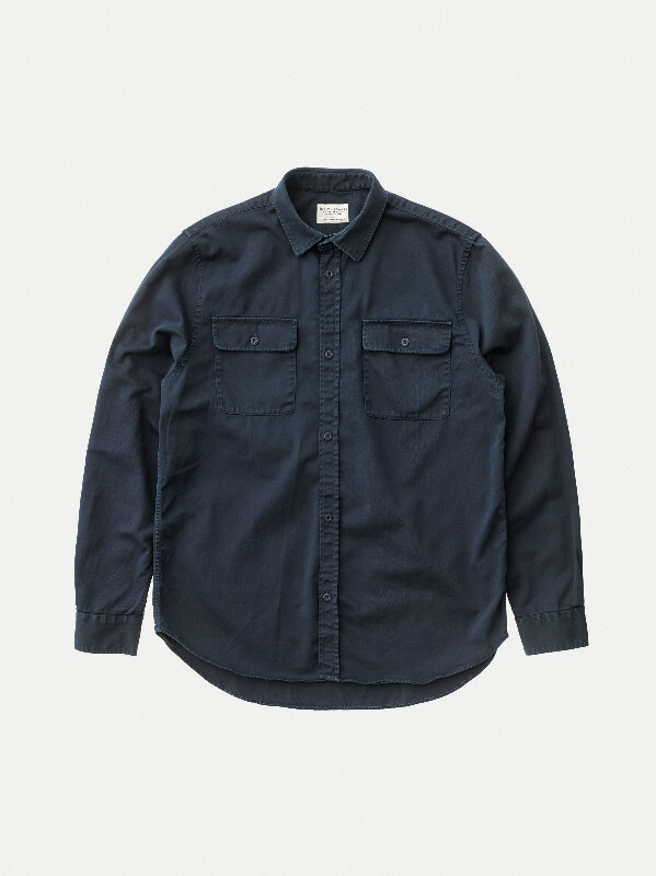 Gabriel Pigment Dyed Navy long-sleeved shirts