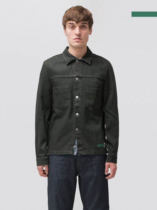 Ronny Army Coated Indigo prewashed denim-jackets