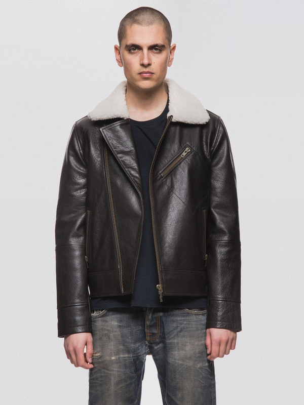 Greger Aviator Leather Jacket Dark Brown