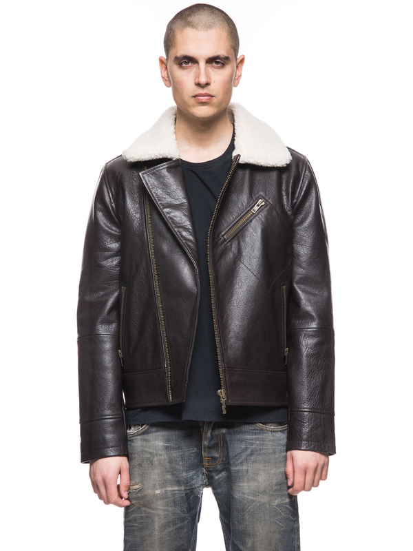Greger Aviator Leather Jacket Dark Brown jackets