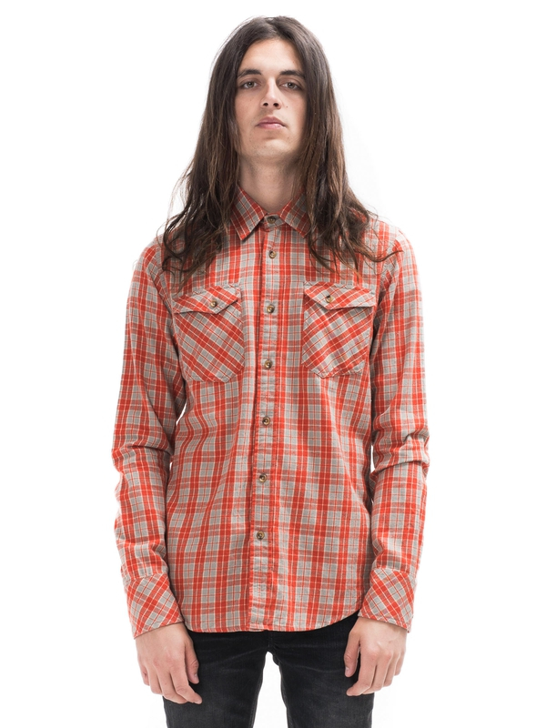 Gunnar Light Twill Check Red shirts