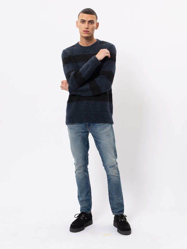 Hampus Block Stripe Black/Blue knits