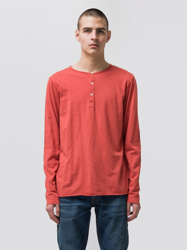 Hektor Henley Slub Aurora Red long-sleeved tees solid
