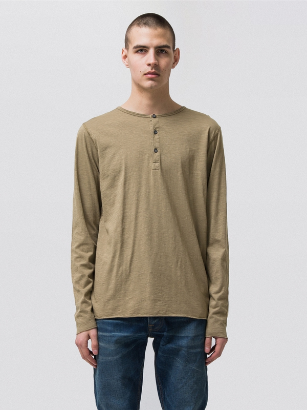 Hektor Henley Slub Desert Green long-sleeved tees solid