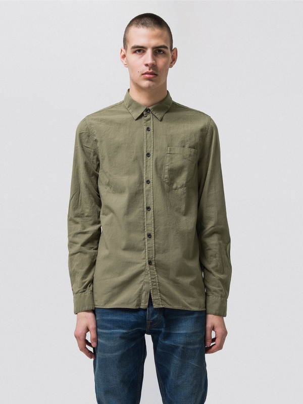 Henry Batiste Garment Dye Desert Green long-sleeved shirts