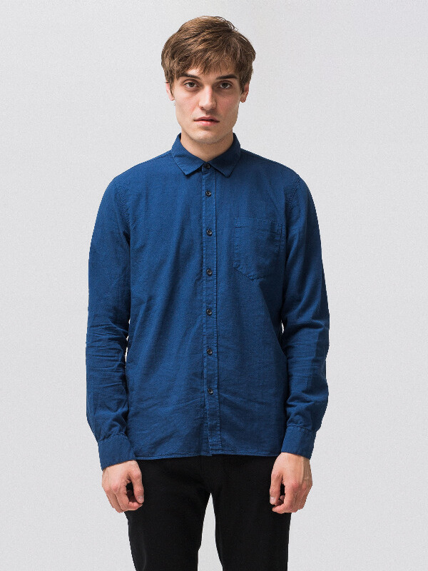 Henry Batiste Garment Dye Oden Blue long-sleeved shirts