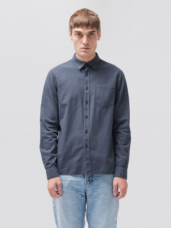 Henry Batiste Garment Dye Smokey Blue long-sleeved shirts